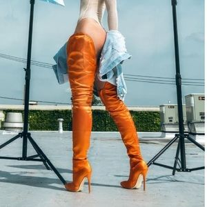 Tall Orange Thigh High Boots